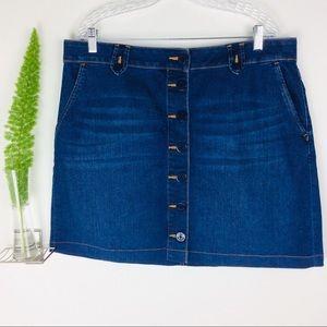 Talbots Gorgeous Trendy Button Down Denim Skirt 16
